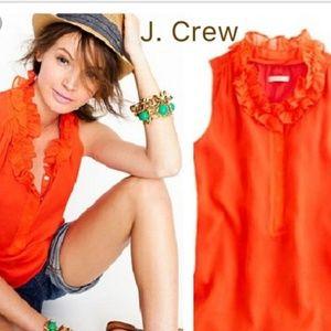 J. Crew Naomi 100% Silk Ruffle Top - Orange